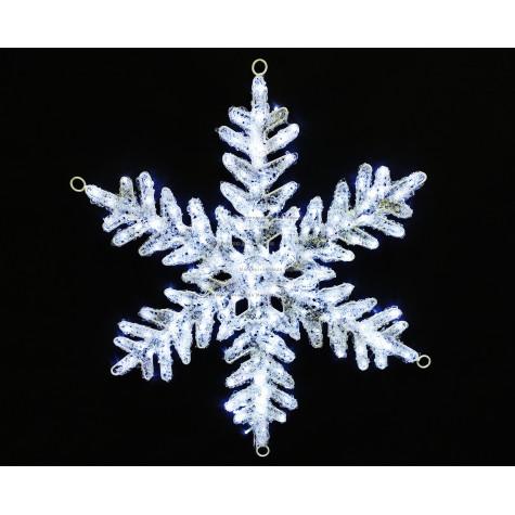 Светодиодная фигура Снежинка цвет белый 80см