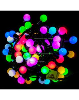 Светодиодная гирлянда Мультишарики цвет RGB 24V 10м провод каучук IP65 (быстрый флеш)