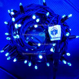 Светодиодная гирлянда цвет синий 24V 10м герметичный колпачок, провод каучук IP65, постоянное свечение