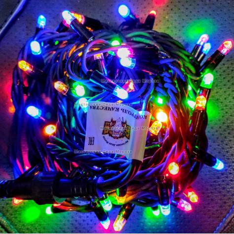 Светодиодная гирлянда цвет мульти с мерцанием 24V 10м герметичный колпачок, провод черный IP65