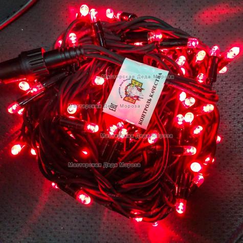 Светодиодная гирлянда цвет красный с мерцанием 24V 10м герметичный колпачок, провод черный IP65