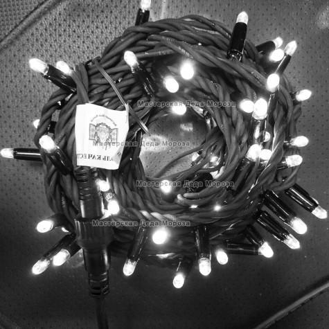 Светодиодная гирлянда цвет белый с мерцанием 24V 10м герметичный колпачок, провод черный IP65