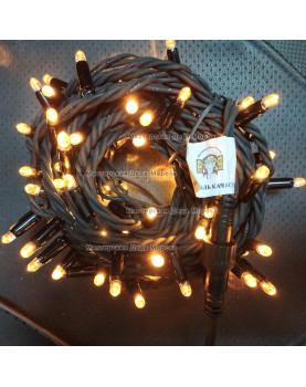 Светодиодная гирлянда цвет теплый белый с мерцанием 24V 10м герметичный колпачок, провод черный IP65