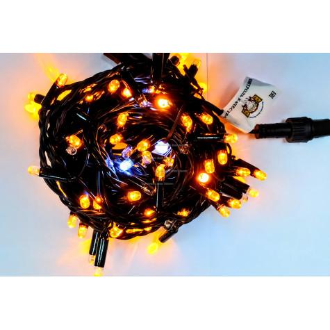 Светодиодная гирлянда с мерцанием 10м цвет желтый, герметичный колпачок,  провод черный каучук IP65