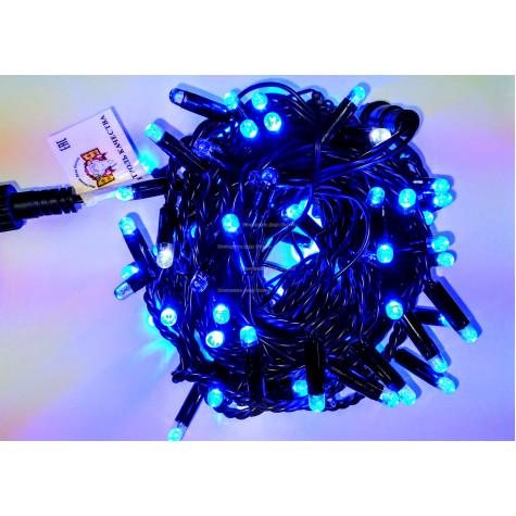 Светодиодная гирлянда с мерцанием 10м цвет синий, герметичный колпачок,  провод черный каучук IP65