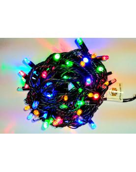 Светодиодная гирлянда с мерцанием 10м цвет мульти, герметичный колпачок,  провод черный каучук IP65