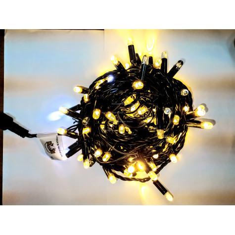Светодиодная гирлянда с мерцанием 10м цвет теплый белый, герметичный колпачок,  провод черный каучук IP65
