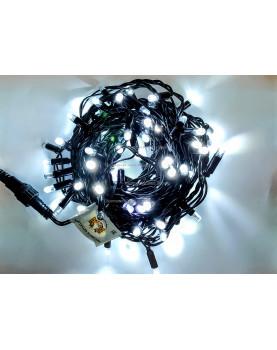 Светодиодная гирлянда с мерцанием 10м цвет белый, герметичный колпачок,  провод черный каучук IP65