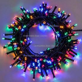 Светодиодная гирлянда 24V 10м цвет мульти постоянное свечение провод черный IP54