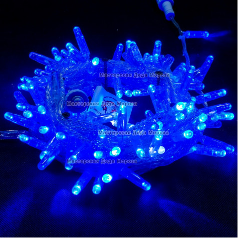 Светодиодная гирлянда с мерцанием цвет синий, 10м герметичный колпачок,  провод прозрачный IP65