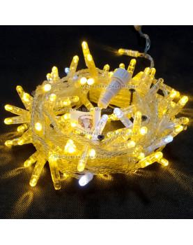 Светодиодная гирлянда цвет теплый белый с мерцанием 24V 10м герметичный колпачок, провод прозрачный IP65