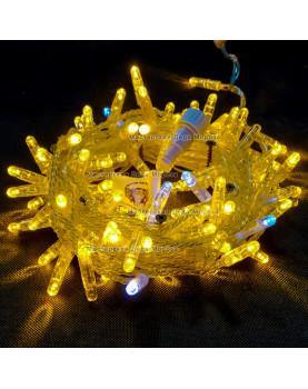 Светодиодная гирлянда цвет желтый с мерцанием 24V 10м герметичный колпачок, провод прозрачный IP65