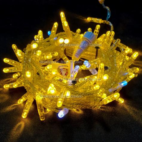 Светодиодная гирлянда с мерцанием цвет желтый, 10м герметичный колпачок,  провод прозрачный IP65