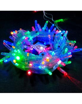 Светодиодная гирлянда цвет мульти с мерцанием 24V 10м герметичный колпачок, провод прозрачный IP65