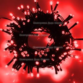 Светодиодная гирлянда 24V 10м цвет красный постоянное свечение провод черный IP54