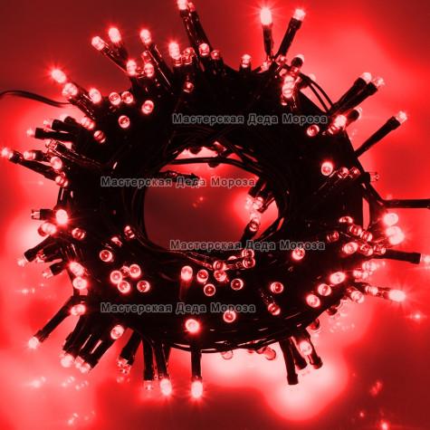 Светодиодная гирлянда 10м цвет красный, провод черный 220V IP44
