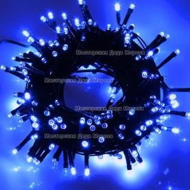 Светодиодная гирлянда 24V 10м цвет синий постоянное свечение провод черный IP54