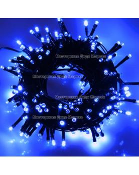 Светодиодная гирлянда 10м цвет синий, провод черный 220V IP44