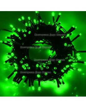 Светодиодная гирлянда 24V 10м цвет зеленый постоянное свечение провод черный IP44