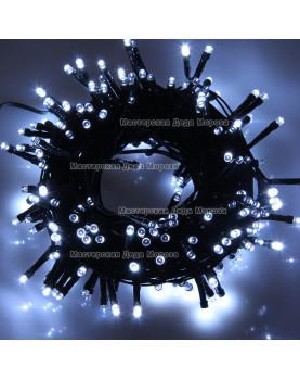Светодиодная гирлянда 10м цвет белый, провод черный 220V IP44