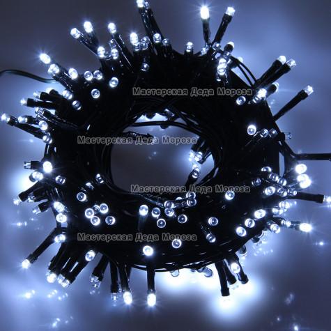 Светодиодная гирлянда 24V 10м цвет белый постоянное свечение провод черный IP54