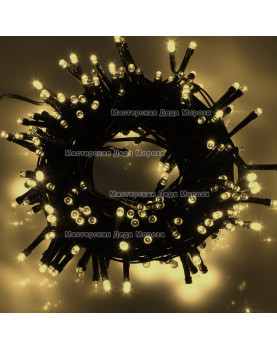Светодиодная гирлянда 24V 10м цвет теплый белый постоянное свечение провод черный IP54