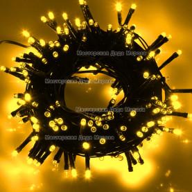 Светодиодная гирлянда 24V 10м цвет желтый постоянное свечение провод черный IP54