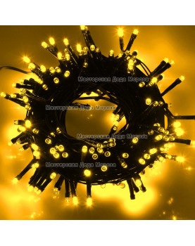 Светодиодная гирлянда с мерцанием цвет желтый 10м, провод черный IP44 220V