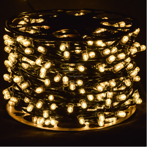 Светодиодная гирлянда Клип Лайт 12V  цвет теплый белый 100м 666 LED провод зеленый IP65