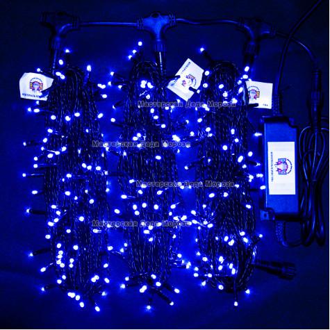 Светодиодная гирлянда Клип Лайт 3 нити по 20м цвет синий 24V постоянное свечение провод черный IP54