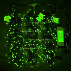 Светодиодная гирлянда Клип Лайт 3 нити по 20м цвет зеленый  24V постоянное свечение провод черный IP54