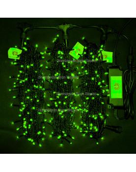 Светодиодная гирлянда Клип Лайт с мерцанием 3 нити по 20м цвет зеленый 24V  провод черный IP54