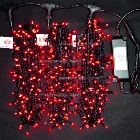 Светодиодная гирлянда Клип Лайт с мерцанием 3 нити по 20м цвет красный 24V  провод черный IP54
