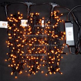 Светодиодная гирлянда Клип Лайт 3 нити по 20м цвет желтый 24V постоянное свечение провод черный IP54
