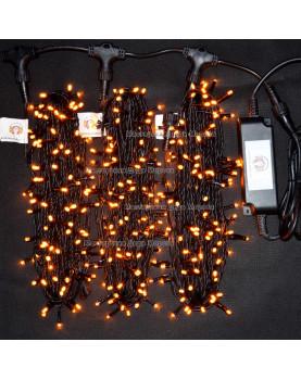 Светодиодная гирлянда Клип Лайт с мерцанием 3 нити по 20м цвет желтый 24V  провод черный IP54