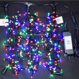 Светодиодная гирлянда Клип Лайт 3 нити по 20м цвет мульти  24V постоянное свечение провод черный IP54