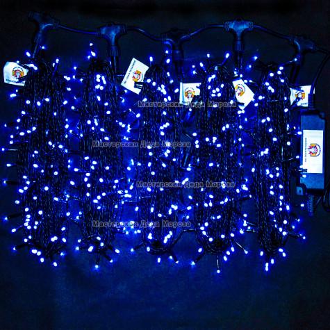 Светодиодная гирлянда Клип Лайт с мерцанием 5 нитей по 20м цвет синий  24V  провод черный IP54
