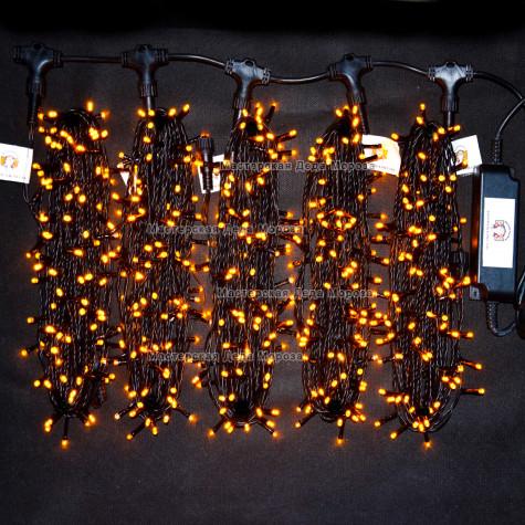 Светодиодная гирлянда Клип Лайт с мерцанием 5 нитей по 20м цвет желтый  24V  провод черный IP54