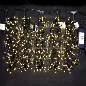 Светодиодная гирлянда Клип Лайт 5 нитей по 20м цвет теплый белый 24V  постоянное свечение провод черный IP54