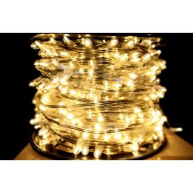 Светодиодная гирлянда Клип Лайт 12V цвет  теплый белый 100м шаг 15см 666 LED провод прозрачный