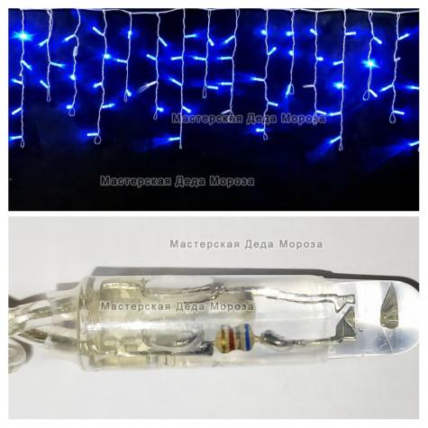 Светодиодная бахрома с мерцанием 3х0,5м цвет синий, герметичный колпачок, провод прозрачный, IP65
