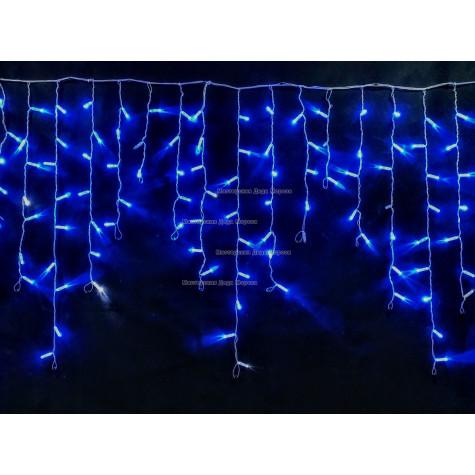 Светодиодная бахрома с мерцанием 3х0,9м цвет синий, герметичный колпачок, IP65, провод прозрачный