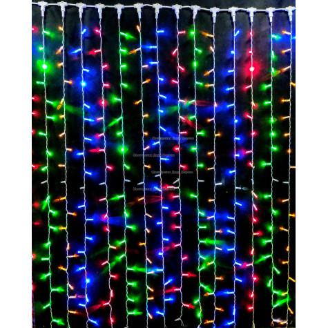 Светодиодный занавес с мерцанием 2х3м цвет мульти с герметичным колпачком, прозрачный провод 600LED IP65