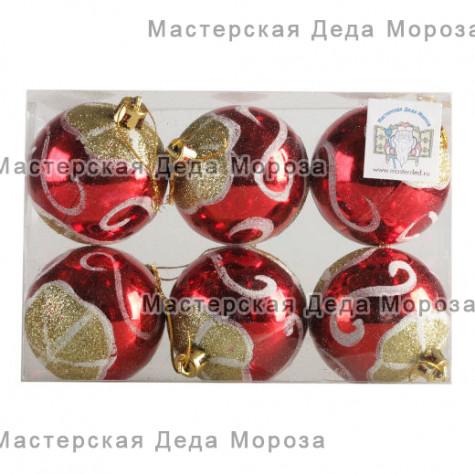 Шары d-6 см цвет красный, с  золотистым рисунком