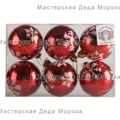 Шары d-6 см цвет красный, со снежинками