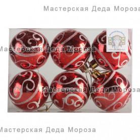 Шары d-6 см цвет красный, с серебристым узором