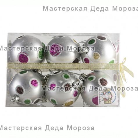 Шары d-6см цвет серебряный