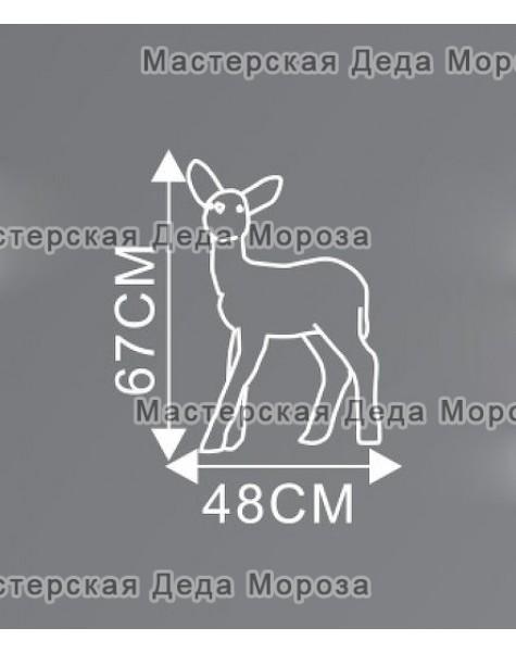 Световая Акриловая Фигура Олень малыш цвет коричневый 67см