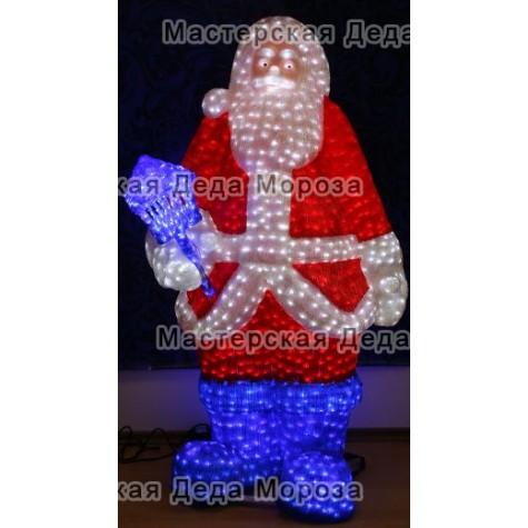 Световая Акриловая Фигура Санта Клаус c фонарем 160см
