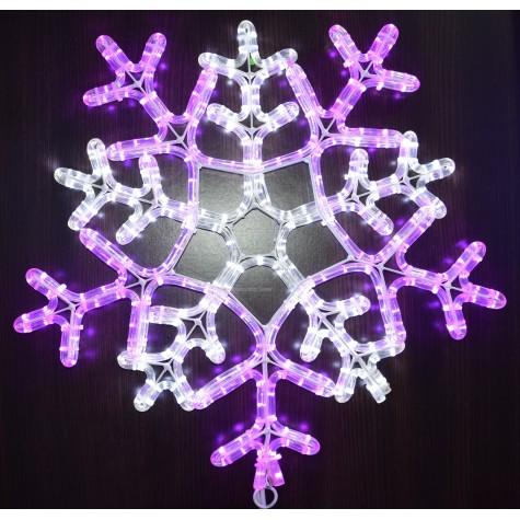 """Светодиодная фигура """"Снежинка"""" 55см цвет бело-сиреневый"""